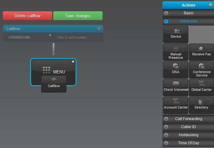 Menu Advanced tab drag callflow